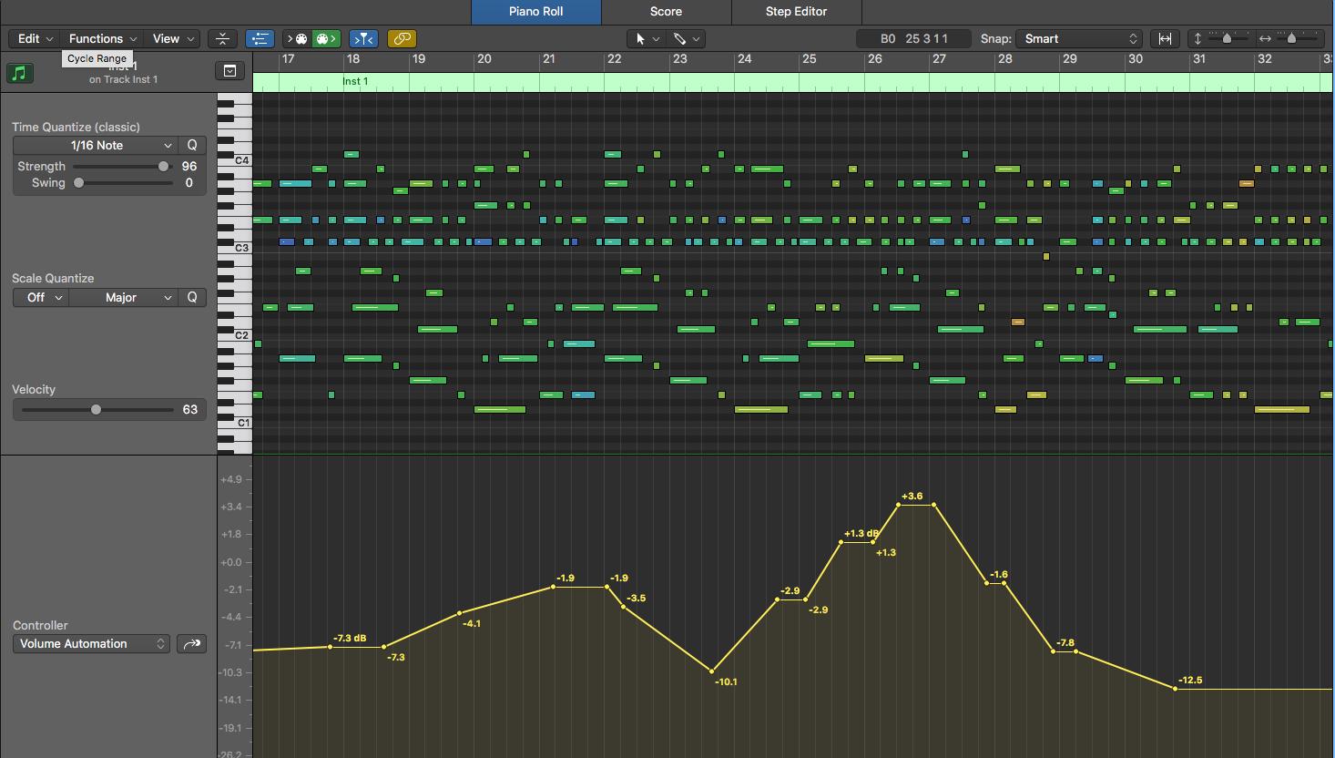 3. MIDI 與 Audio 在 Piano Roll 中編輯方式的差別