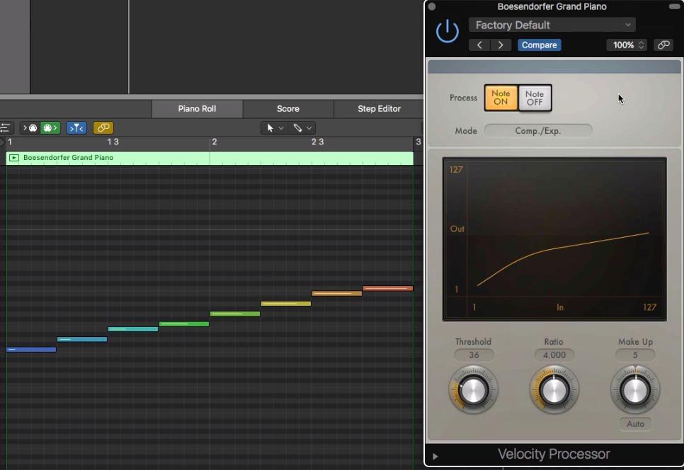 10.Velocity Processor - 在MIDI中的力度 Compressor 使用