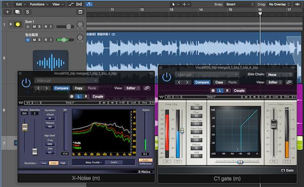 5.人聲混音流程演練3 - 加入 C1 Gate 進一步將聲音的環境音去除