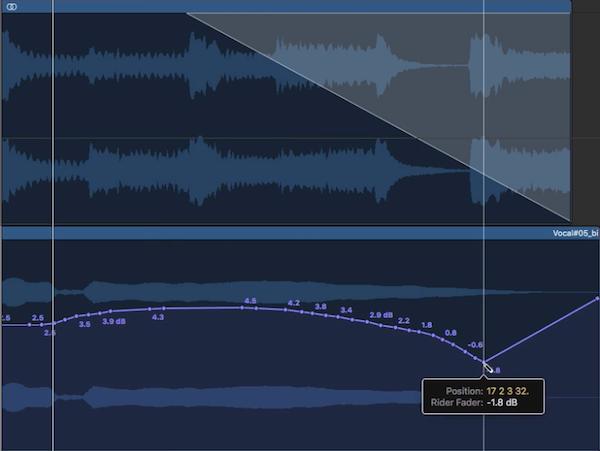 6.Vocal Rider 實際操作示範4 - 修正 Automation 變化細節